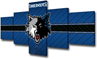 TUMOVO Native American Decor Minnesota Timberwolves Paintings Basketball Pictures 5 Piece Canvas Wall Art Modern Artwork Home Decor for Living Room Framed Stretched Ready to Hang - 50''Wx24''H