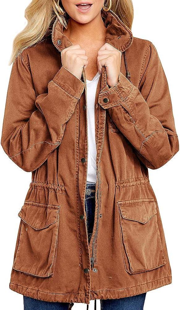 Soulomelody Womens Military Safari 全品送料無料 セール Anorak Hoodies Zip Jacket Up
