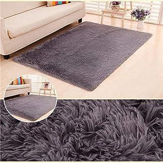 柔らかいふわふわの敷物、毛深いリビングルームのフロアマット、豪華な暖かいカーペット-gray_120cm * 160cm、長髪ののどの毛皮の模造ウールソファ寝室の敷物マット