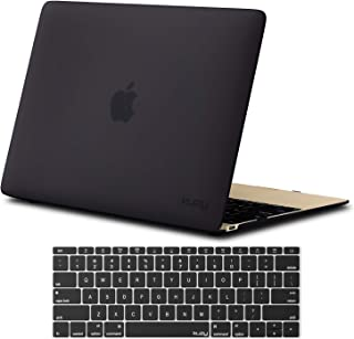 Kuzy - MacBook 12 inch Case and Keyboard Cover for Model A1534 with Retina Display Soft Touch Hard Cover Shell - New Version - Black