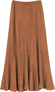 Urban Coco Women's Vintage Elastic Waist A-Line Long Midi Skirt (XL Brown)