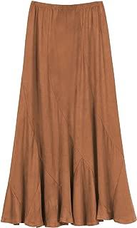 Women's Vintage Elastic Waist A-Line Long Midi Skirt