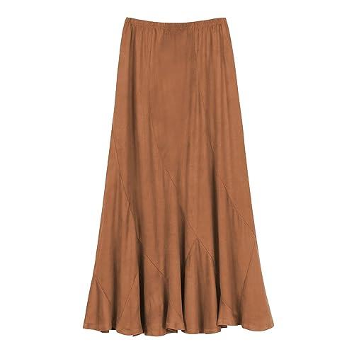 1930b0e848c2 Urban CoCo Women's Vintage Elastic Waist A-Line Long Midi Skirt