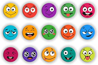 Tcredible Fridge|Fridge Magnet for Refrigarator|Wood Fridge Magnet|Matt Smiley Emoji Magnet - Set of 15 Pcs (Multicolour)