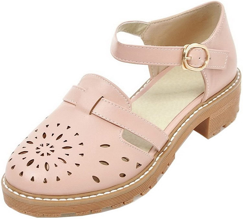 AmoonyFashion Women's Low-Heels Round-Toe PU Solid Buckle Sandals