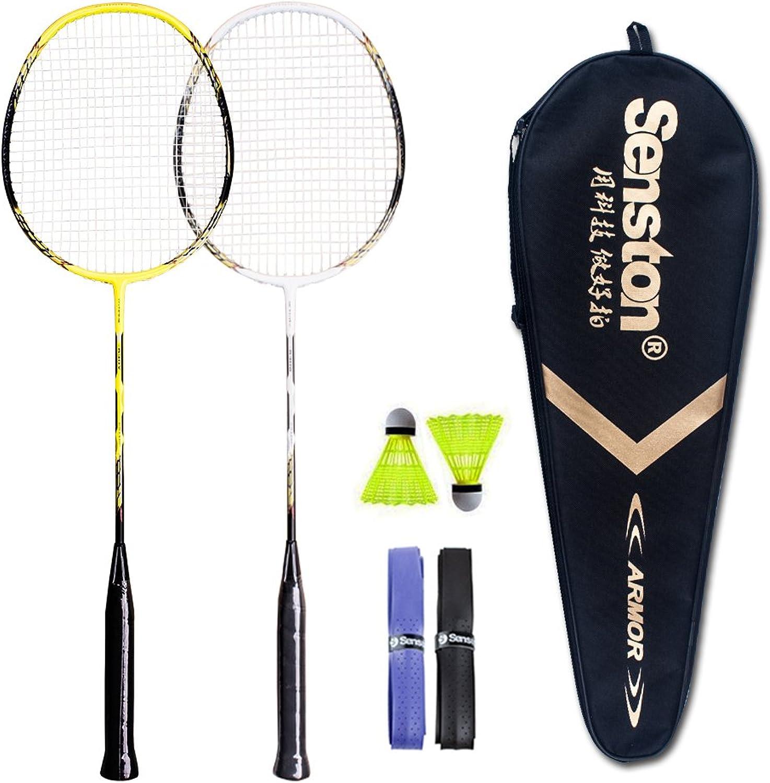 Senston - 2 Player Badminton Racket Set - Including 1 Badminton Bag 2 Rackets 2 Badminton  2 Grip