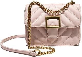 Fine Bag/Women's Chain Shoulder Bag Retro Simple Small Square Bag Fashion Casual Crossbody Bag Mini Ladies Bag Dating College (Color : Pink, Size : 20 * 10 * 15cm)