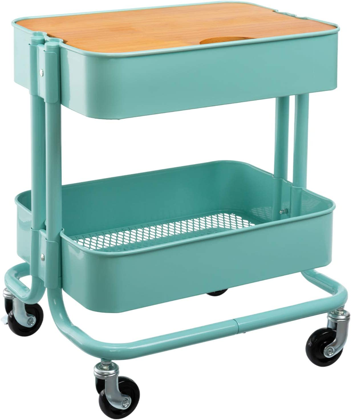MATICO 2 Tier Metal Detachable Sales for sale Storage Table Side with H OFFicial store Wheels