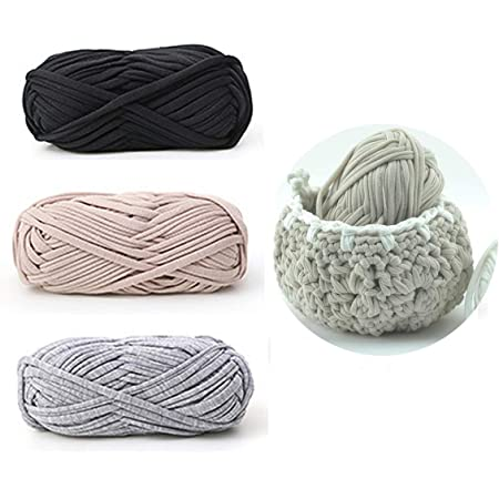 iSuperb 3 Pack Knitting Yarn Fabric Cloth T-Shirt Yarn Carpet Yarn for DIY Knitted Fabric Art Basket Bag A