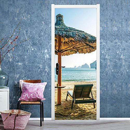 3D Türaufkleberseaside Warme Sonne Gemütliche Lounge Stuhl Regenschirm Tür Aufkleber Schlafzimmer Wohnzimmer Dekoration Malerei Wasserdichte Selbstklebende Abnehmbare Wandaufkleber