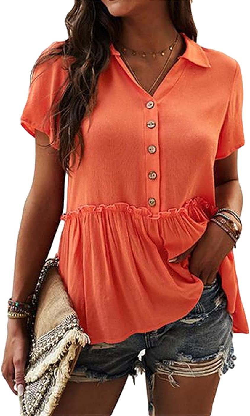 Tankaneo Womens 1/2 Button Down T Shirts Short Sleeve Lapel Neck Blouse Shirt Ruffle Hem Casual Plain Summer Tops