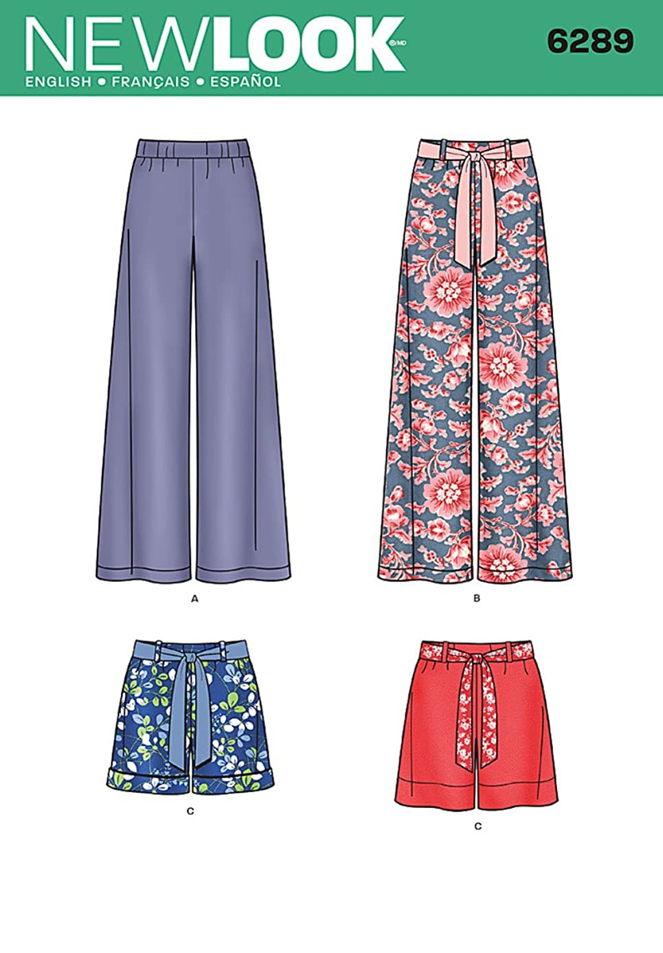 Simplicity Creative Patterns New Look 6289 Misses' Pull On Pants or Shorts and Tie Belt, A (8-10-12-14-16-18)