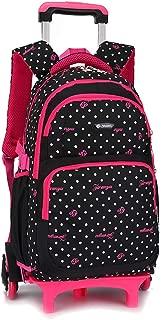 KINDOYO Children's Backpack with Rolling Wheels - Girls Cute Sweet Round Dot Pattern Detachable Trolley Schoolbag, Black