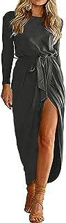 YOINS Sommerkleid Damen Lang Maxikleider für Damen Strandkleid Sexy Kleid Kurzarm Jerseykleider Strickkleider Rundhals mit...