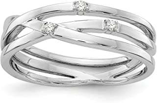 Solid 925 Sterling Silver .03ct. Diamond Ring (6mm)