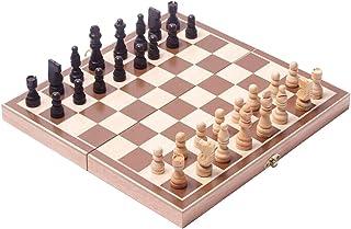 JuneJour Jeux d'échecs en Bois 3 en 1 Echec Enfant en Bois Jeu D'échecs Jeux de Société Loisir Creatif Pliant Echiquier Pl...