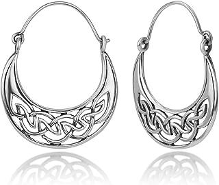 925 Oxidized Sterling Silver Open Celtic Knot Symbol Half Moon Hinged Hoop Earrings 1.2