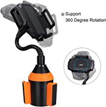 MOTOBA Gooseneck Cup Holder Phone Mount, Adjustable Car Phone Cup Holder for iPhone 11 Pro/XR/XS Max/X/8/7 Plus/6s/Samsung S10+/Note 9/S8 Plus/S7 Edge (Orange)
