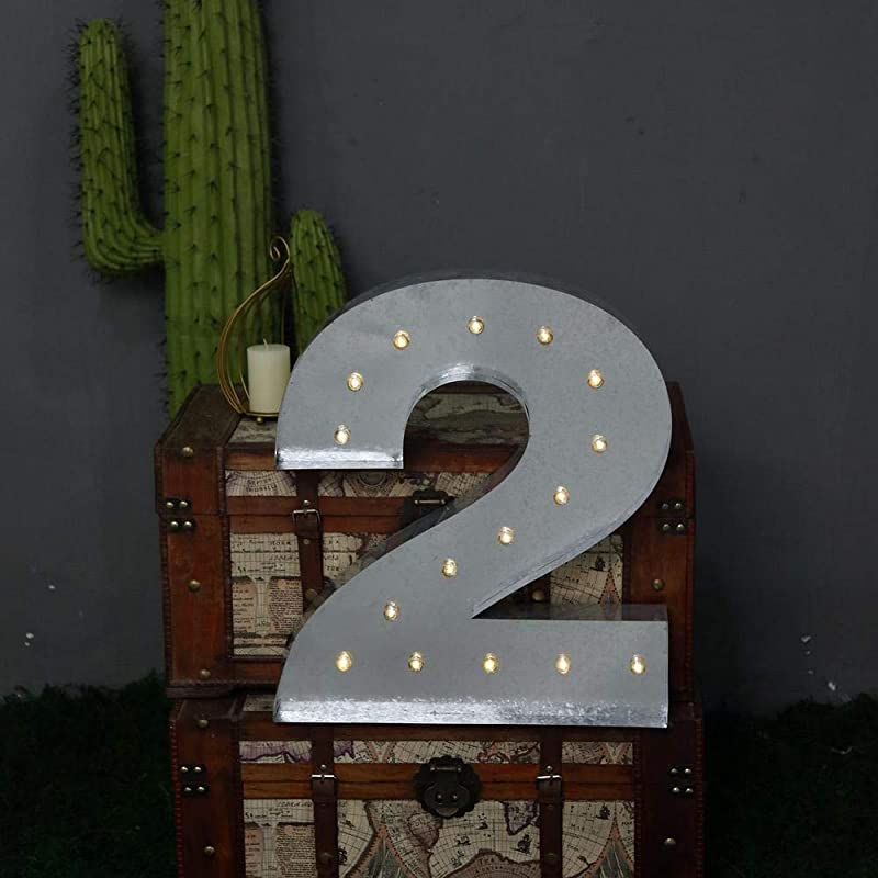Tableclothsfactory 2 FT Vintage Metal Marquee Number Lights Cordless With 16 Warm White LED 2