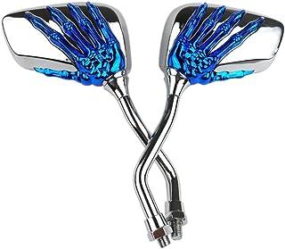 KKmoon 1 Paar Rückspiegel für Motorrad / Skelett Rückspiegel, für Motorrad, Universal, Blau