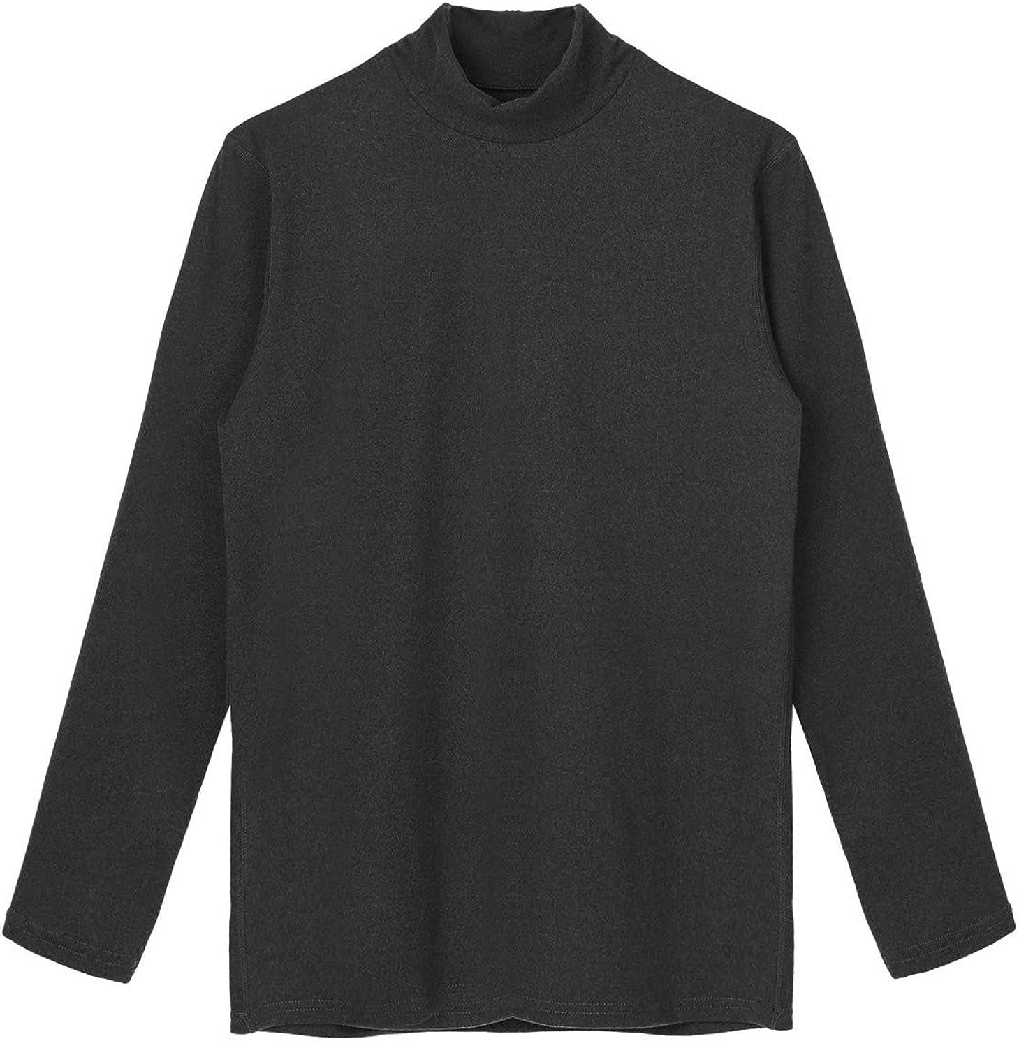 YOOJOO Men's Turtleneck Base Layer Undershirt T-Shirt Casual Long Sleeve Slim Fit Basic Thermal Tops