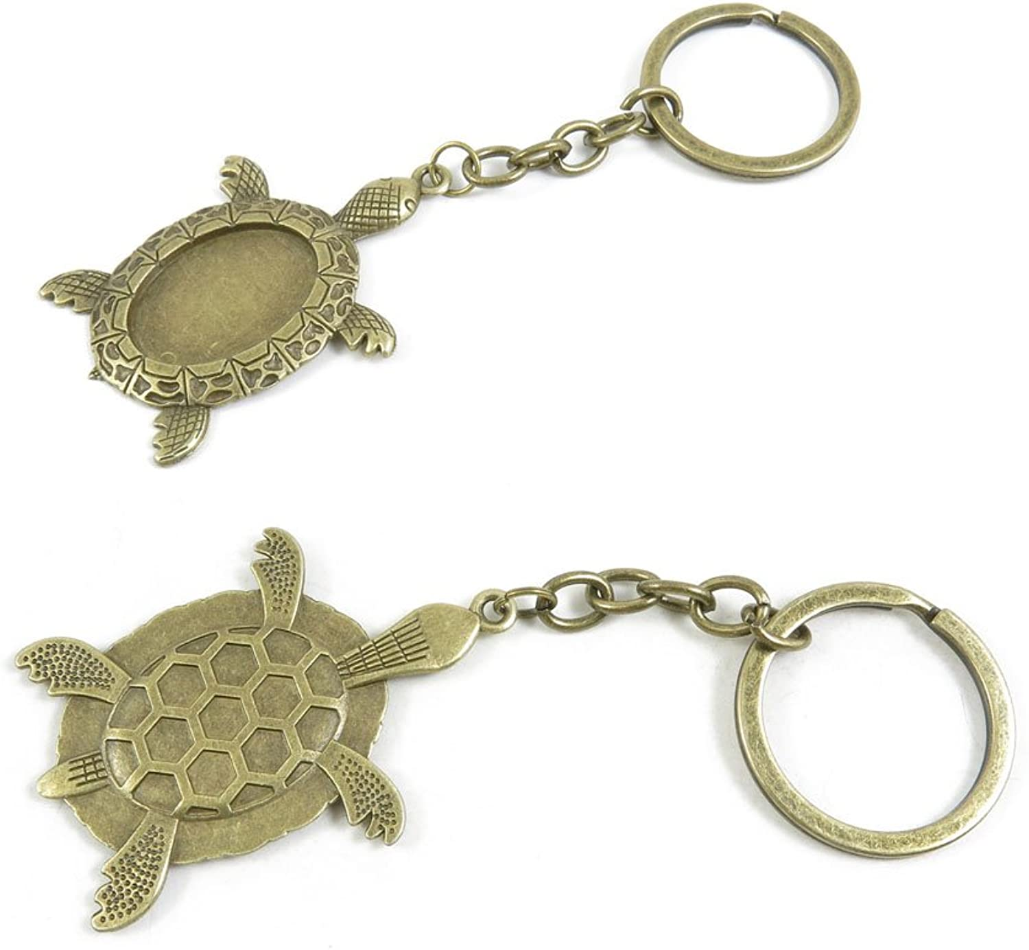 110 Pieces Fashion Jewelry Keyring Keychain Door Car Key Tag Ring Chain Supplier Supply Wholesale Bulk Lots H9EC3 Tortoise Turtle Cabochon Frame Setting