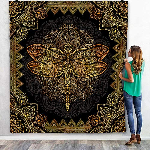Mandala Dragon Fly Quilt, Buddha Yoga Blanket, Golden Colorful Gifts for Son, Daughter, Granddaughter, Grandson from Mom, Dad, Grandma, Grandpa Bed Throw, Quilt Queen 70 x 80 inches