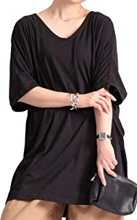 [ゴールドジャパン] 大きいサイズ レディース トップス Tシャツ ドルマン Vネック ロング 半袖 五分袖 ルーム