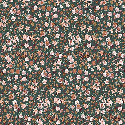 Schickliesel Organic Jersey Stoff Meterware Sommerblüten (altgrün)