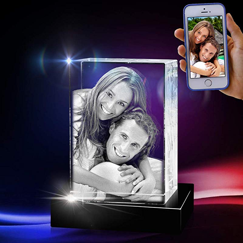 3D Cube Crystal With A Free LED Base That Illuminates The Crystal Personalize With Your Own Custom Engraving Medium Portrait