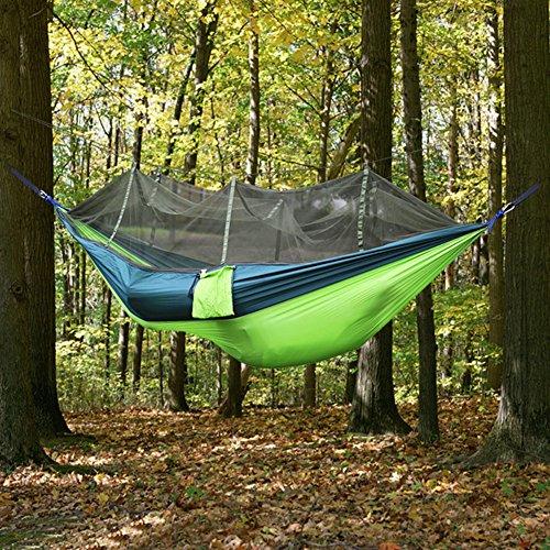 Paracity extérieur Hamac Camping Hamac de haute qualité, tissu léger Parachute Lit de voyage Moustiquaire Intérieur Hamac pour extérieur, camping, randonnée, randonnée, Backyard Green