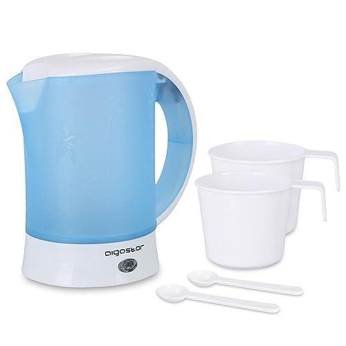 Aigostar Walking Drip 30JQK – Bouilloire compacte de 0,6 litres, 650 W et sans BPA. Arrêt automatique et protection contre l'ébullition à vide. Deux tasses et deux cuillères incluses.