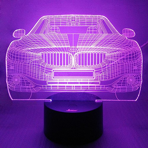 Cool Car 3D Night Light LED Illusion Lamp Bedside Desk Table Lamp, Loveboat 7 Color Changing Lights with Acrylic Flat and ABS Base and USB Charger as Home Decor