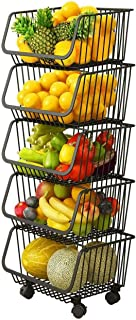 5-Tier Stackable Cart Wire Basket Metal Rack Shelves Trolley Storage Drawer Rolling Cart with Removable Wheels Lockable Pa...