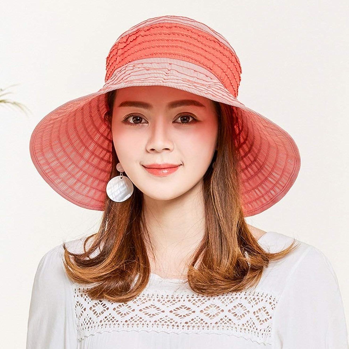 ハプニング能力カプセルレディース日曜日の帽子、女性夏浜の広い縁のわらのバイザーの帽子 (Color : Red)