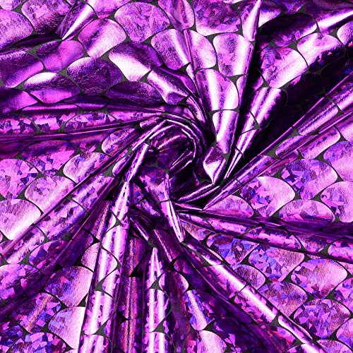 Stoffe Schulz | Elastic Folienjersey Schuppen, lila | Meterware ab 0,5m