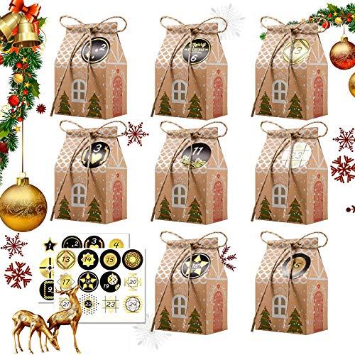 JOYUE 24 Adventskalender zum Befüllen, Adventskalender Tüten mit 24 Zahlenaufklebern, Weihnachts Geschenkschachtel, Weihnachtskalender Tüten, Weihnachten DIY Bastelset, Weihnachtliche Dekoration
