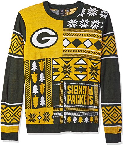 NFL GREEN BAY PACKERS PATCHES Ugly Sweater, X-Large>