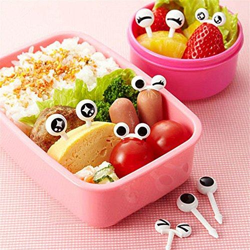10pcs/set Bento Decoration Sets, Lovely Easy to Mini Eye Cartoon Expression Fruit Fork Plastic Fruit Toothpick For Children Decorative Tableware