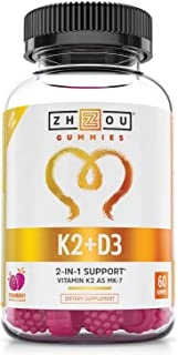 Zhou Vitamin K2 (MK7) with D3 Gummies | Bone and Heart Health Formula | Immune Support | 60 Veggie Gummies