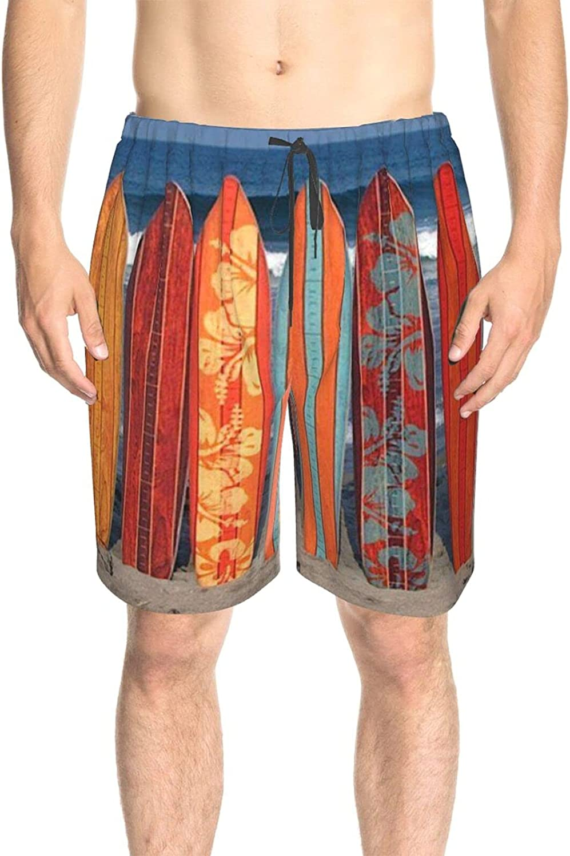JINJUELS Mens Swim Trunks Surfing Board Beach Swim Board Shorts Quick Dry Comfy Swimwear Bathing Suits with Pockets