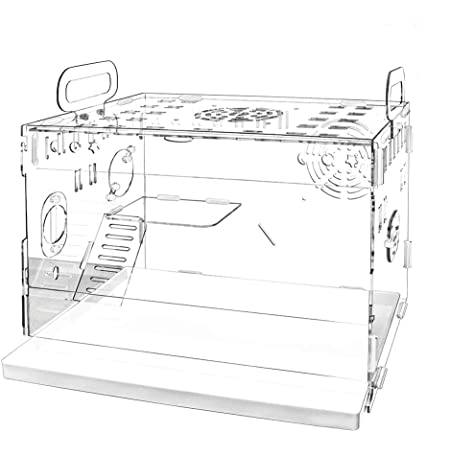 YOKITOMO ハムスターケージ 三代目 まわし車 給水ボトルなど含めて7点セット 透明トレーデザイン お掃除しやすい 通気穴いっぱい 2階デザイン 持ち運びやすい エコなアクリル製 (単品)