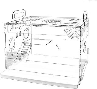 YOKITOMO ハムスターケージ 三代目 透明トレーデザイン お掃除しやすい 通気穴いっぱい 2階デザイン 持ち運びやすい エコなアクリル製 (ケージ単体)35CM*25CM*25CM