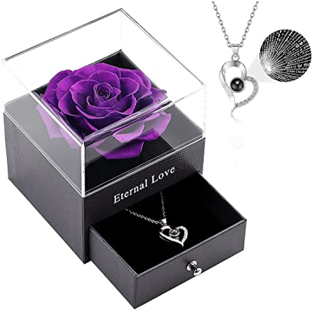 Vanleonet Preserved Real Rose with Heart Necklace, Forever Rose Gifts for Mom/Women/Girlfriend/Wife/Her/Best Friend/ Valentine's Day/Birthday/Anniversary/Thanksgiving/Christmas