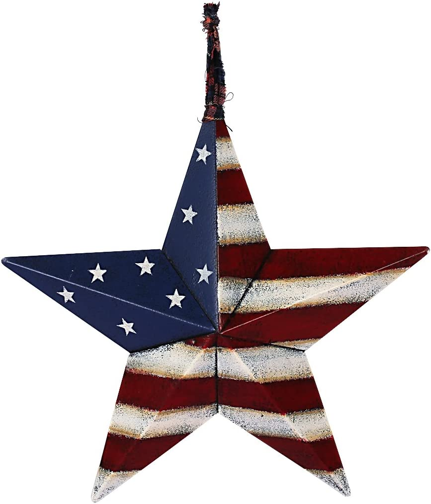 YK Decor 4th of July Max 48% OFF Patriotic Indoor Barn Metal Directly managed store Star Wall