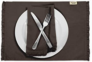 Vargottam Brown Home Décor Cotton Flex Table Decor Reversible Dining Table Frill Placemats Set-Set of 8