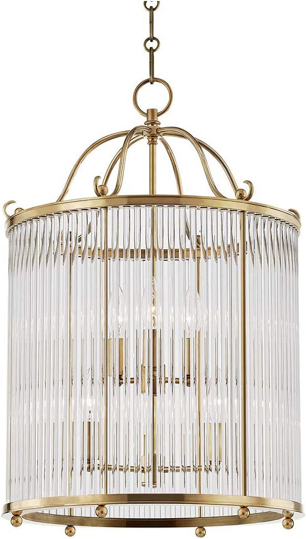 Pendants 6 Light Nippon regular agency Fixtures with Aged Cryst Brass Metal and Sales Finish