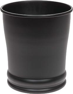iDesign Olivia Metal Wastebasket, Small Round Plastic Vintage Trash Can for Bathroom, Bedroom, Dorm, College, Office - Matte Black