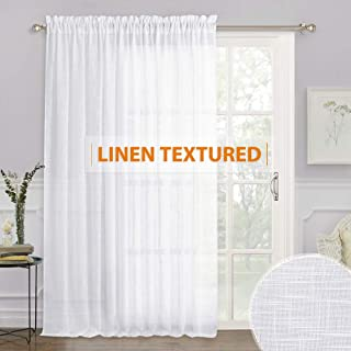 RYB HOME White Sheer Curtains - Linen Sheer Extra Wide Curtain Large Window Decorating Privacy Panel for Living Room Dining Bedroom Patio Sliding Glass Door, 100 inches Wide x 84 inches Long, 1 Pc