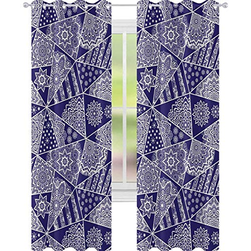 YUAZHOQI - Cortinas opacas para dormitorio, diseño de retazos triangulares sin costuras, diseño de estrellas estilizadas y rosas radiales orientales
